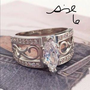 Size 6 White Gold Filled Wedding Ring